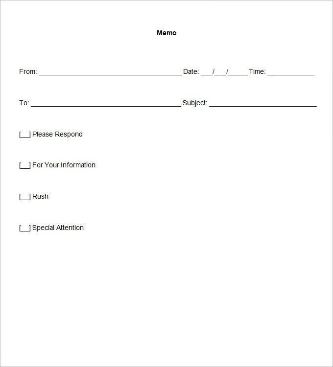 Blank Memo Template PDF Document Download