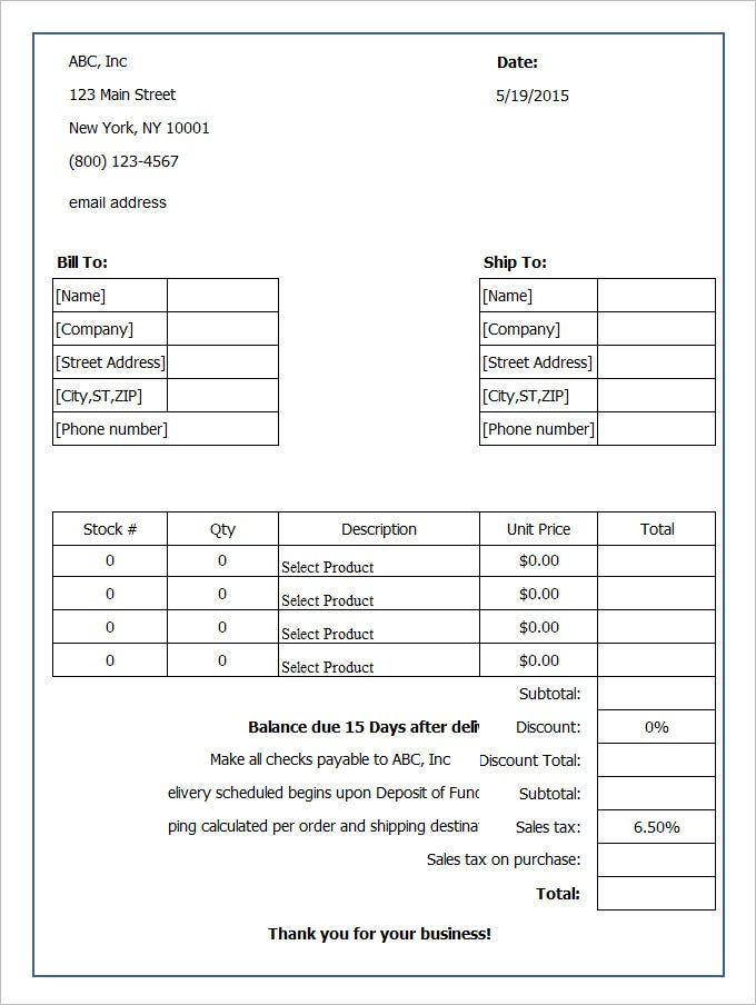 Blank Order Form Template Free Download