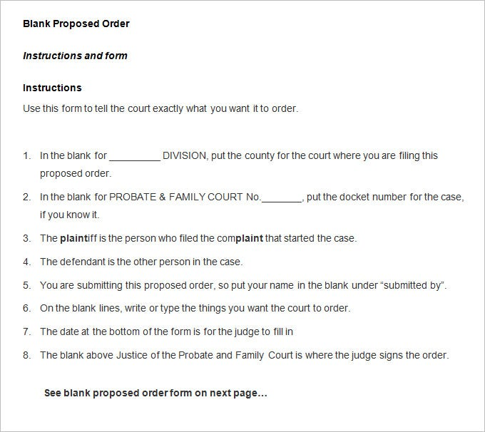 blank proposed order form template