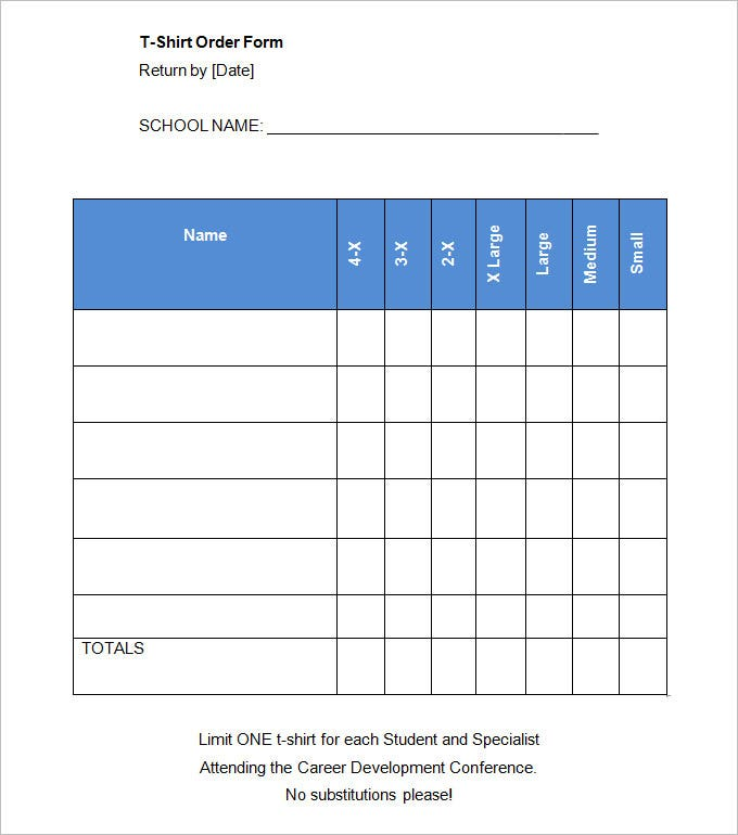 Blank T Shirt Form Template  Blank Forms Templates