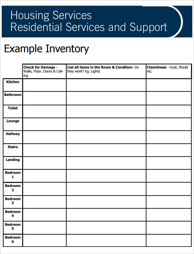 blank tenancy inventory template