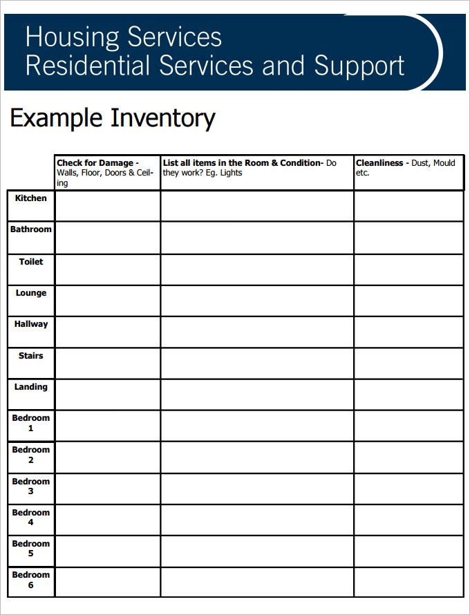 sample tenancy inventory template