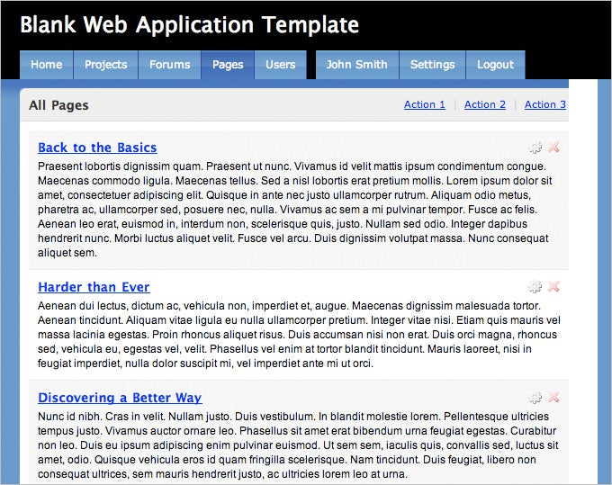 blank web application template