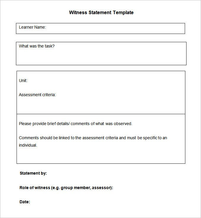 Witness Statement Templates  Free Word Pdf Documents Download