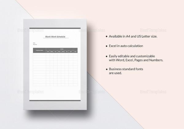 blank work schedule template in excel