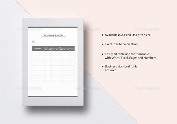 Blank work schedule template 12 free word excel documents blank work schedule template pronofoot35fo Image collections