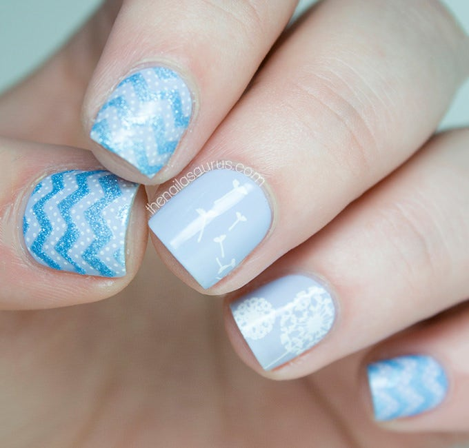 blue nail design for shortnails