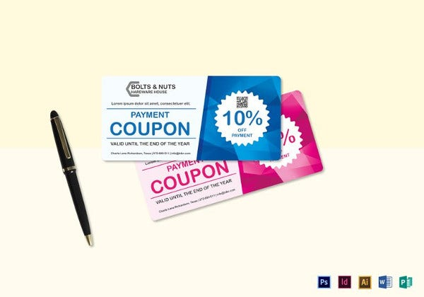 blue and pink payment coupon template