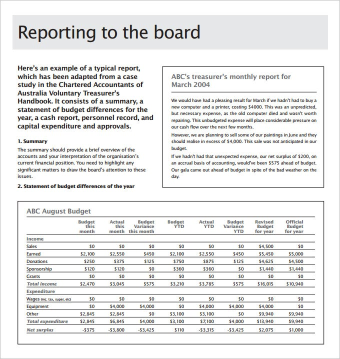 board report template free download