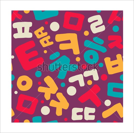 bold coloured korean alphabet letters
