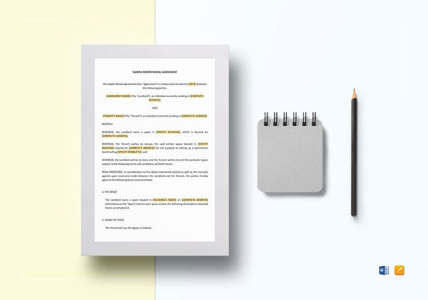 booth rental agreement template