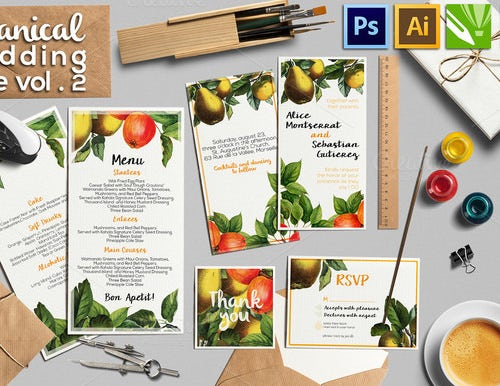 botanical wedding menu template