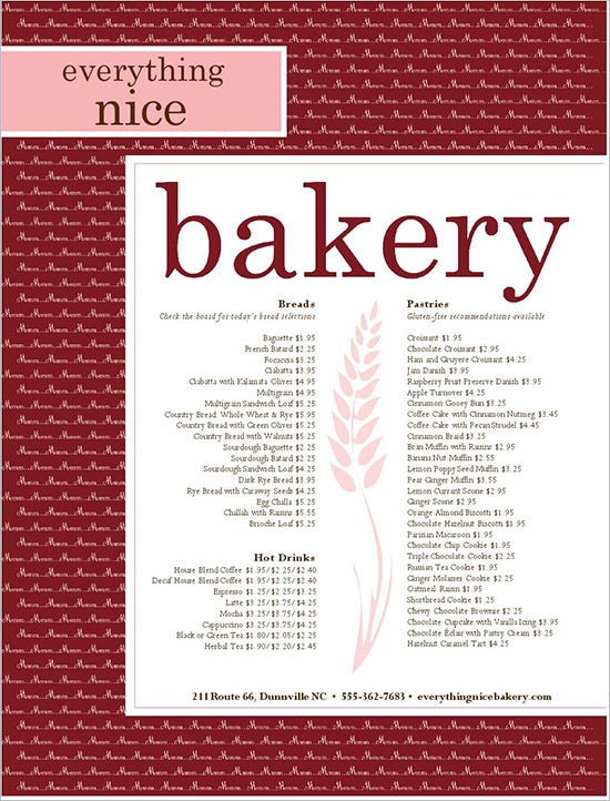 Bread Bakery Menu Template