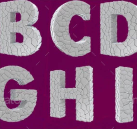 broken 3d alphabet