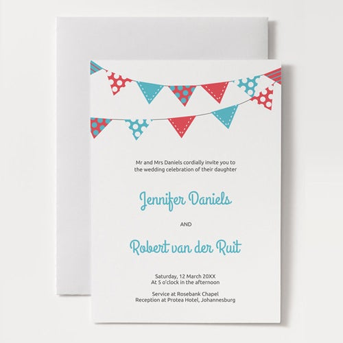 bunting wedding menu template