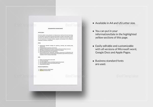 business analyst job description template