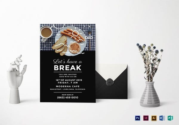 business breakfast invitation indesign template