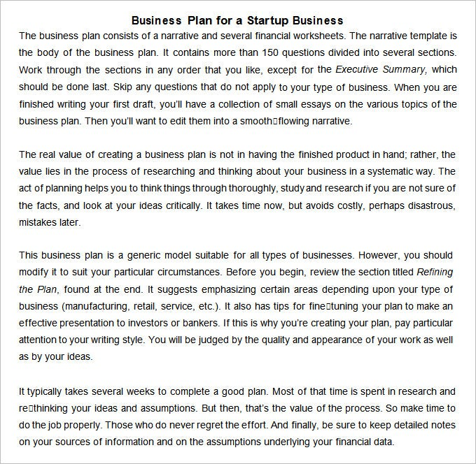 Startup Business Plan Templates   Free Word Pdf Documents