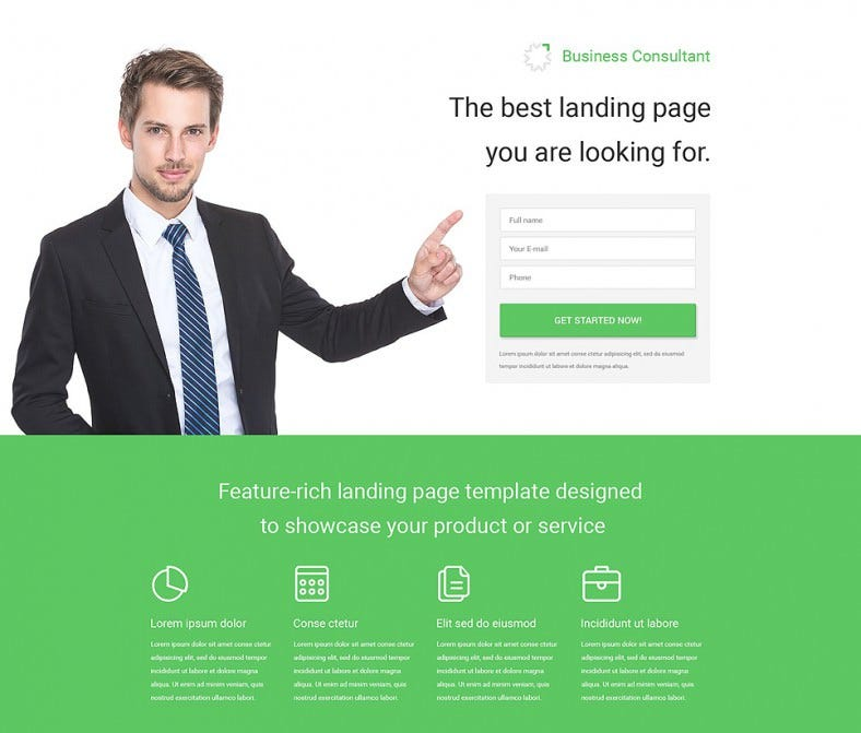 business responsive landing page template 788x671