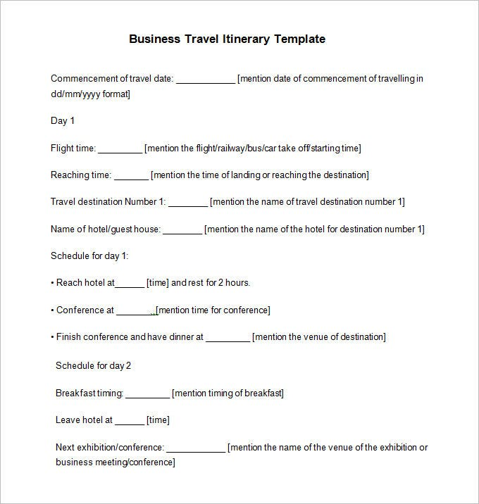 Business Travel Itinerary Template 8 Free Word Excel PDF – Travel Itinerary Example