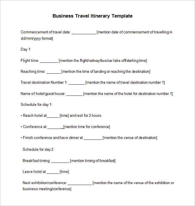 business travel itinerary template free download1