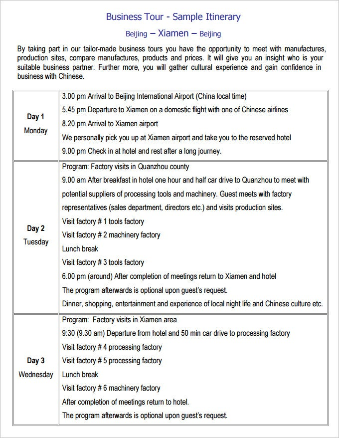 Business Travel Itinerary Template   Free Word Excel Pdf