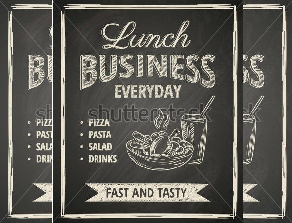 business lunch menu poster on blackboard