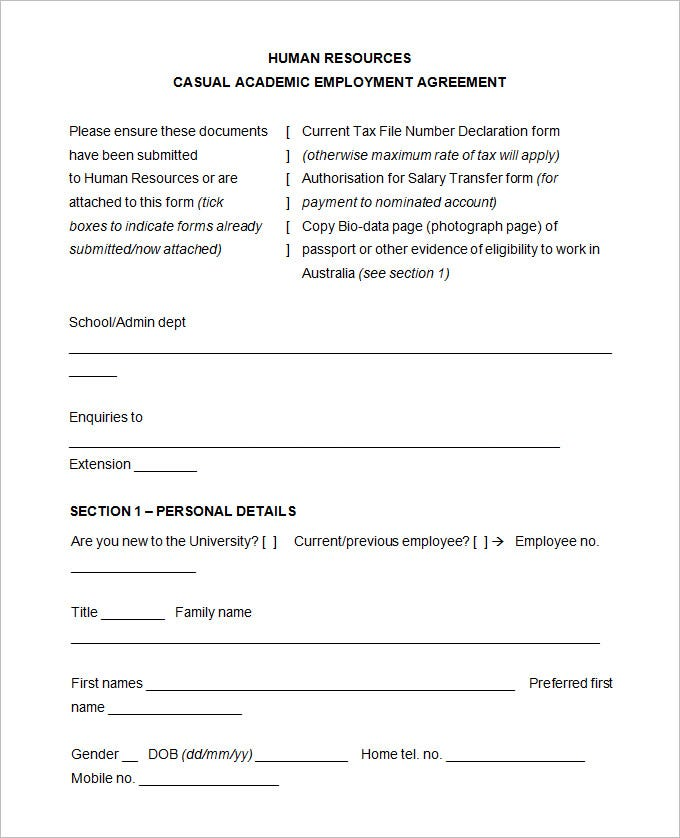 Sample Hr Agreement Templates  Free  Premium Templates