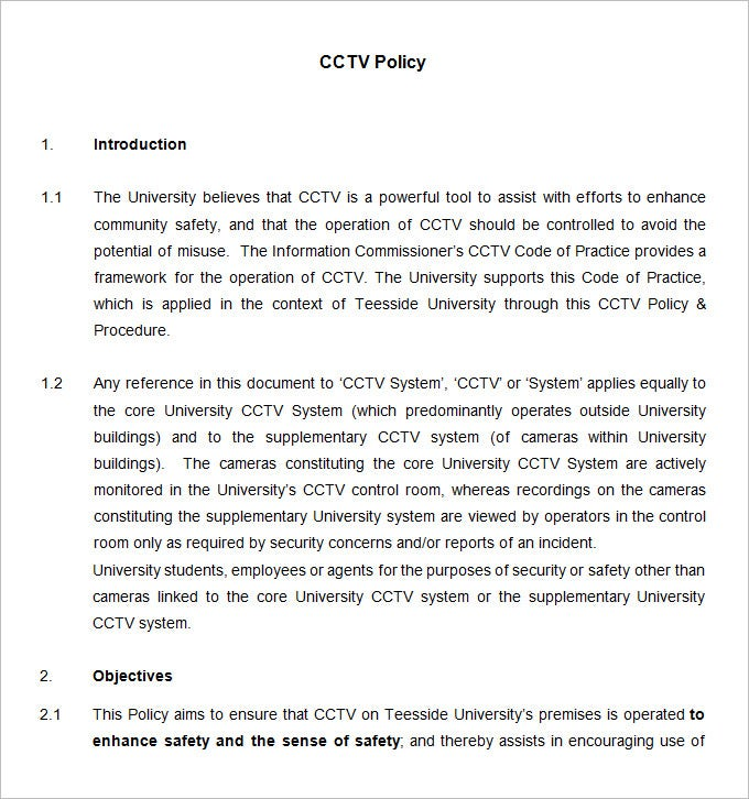 cctv policy and procedure template