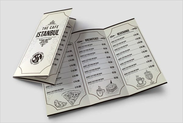 cafe menu card pack