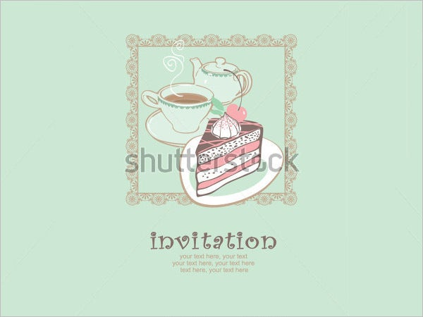cake and tea party invitation