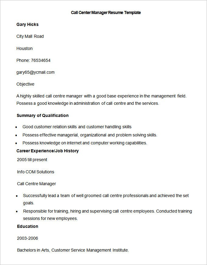 call centre manager resume template - Photo Resume Template