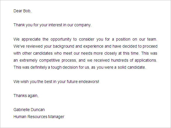 Captivating Candidate Rejection Letter Sample