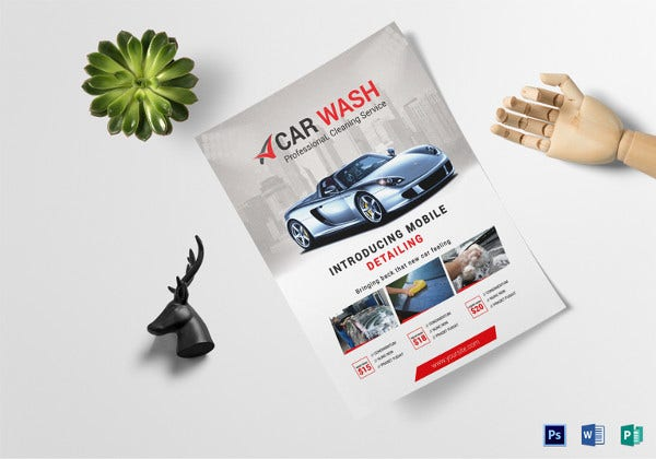 car wash business flyer template
