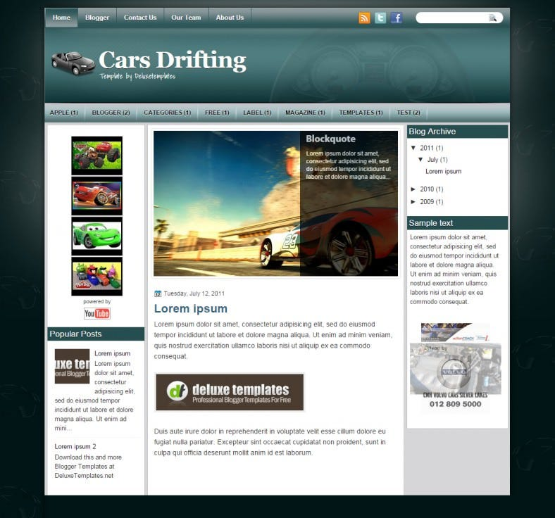 cars drifting automobile responsive bloggertemplate 788x736