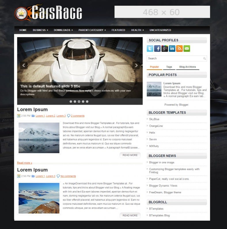 carsrace automobile responsive blogger template 788x796