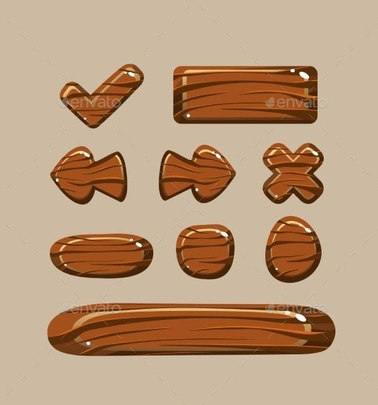 cartoon wooden buttons in eps format