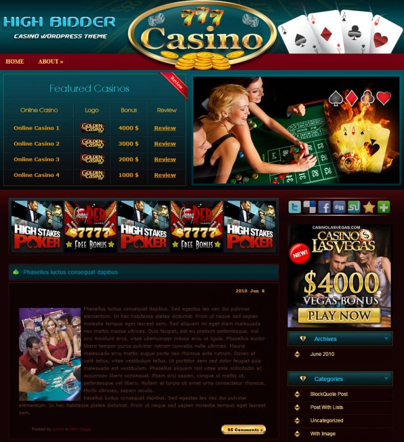 wordpress casino theme