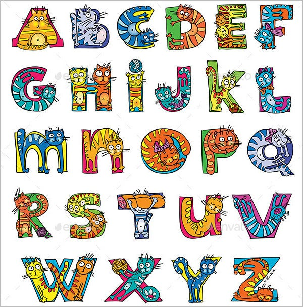 cat large alphabet letters template