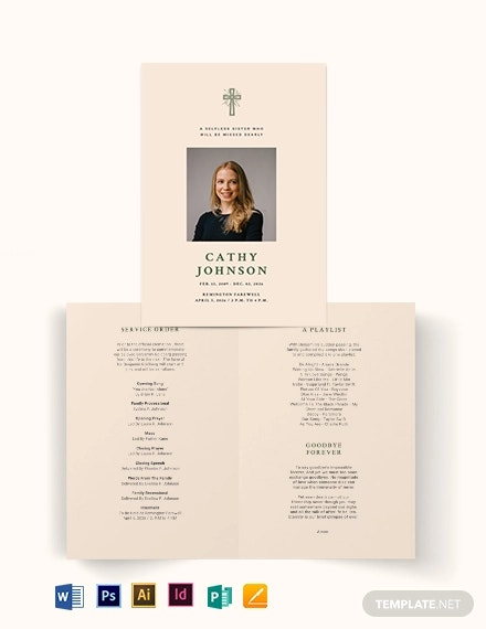 catholic eulogy funeral bi fold brochure template