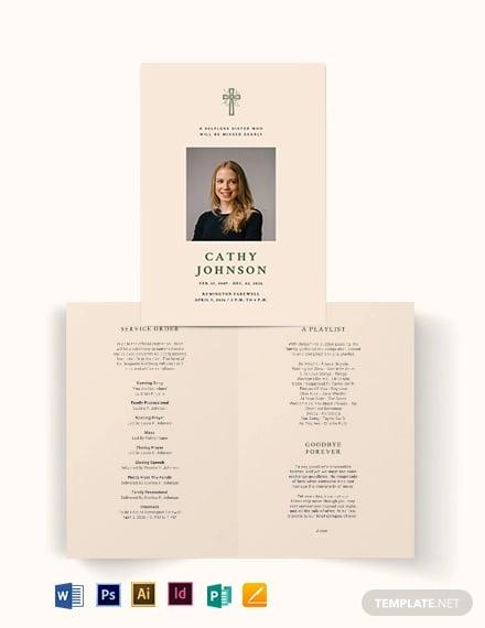 catholic eulogy funeral bi fold brochure template