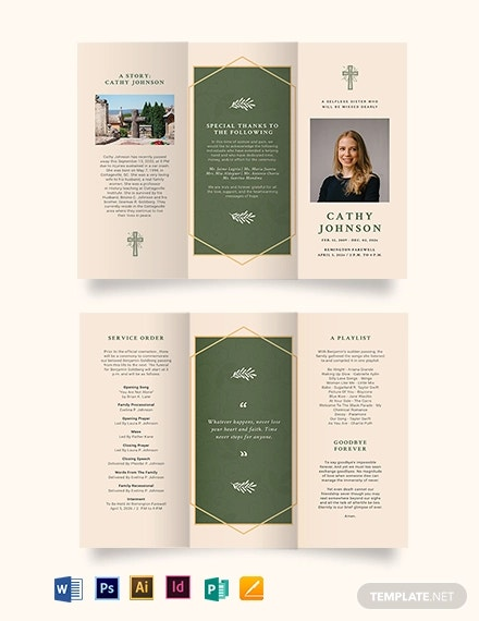 catholic eulogy funeral tri fold brochure template