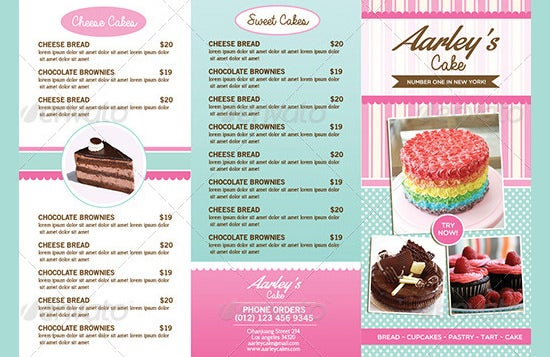 chaco cakes bakery menu template