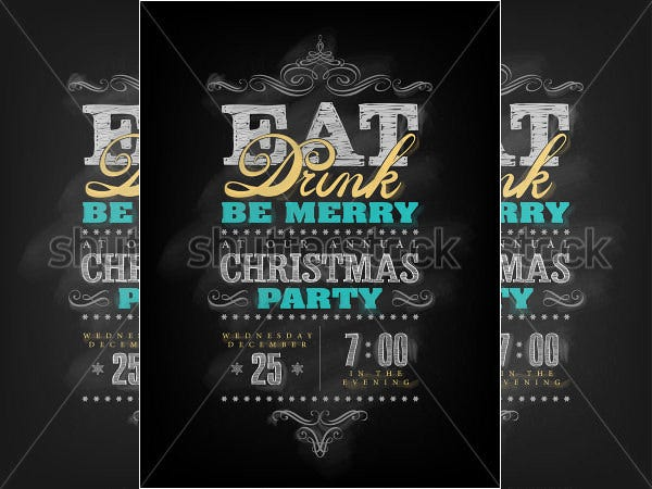 chalk drawn christmas party invitation