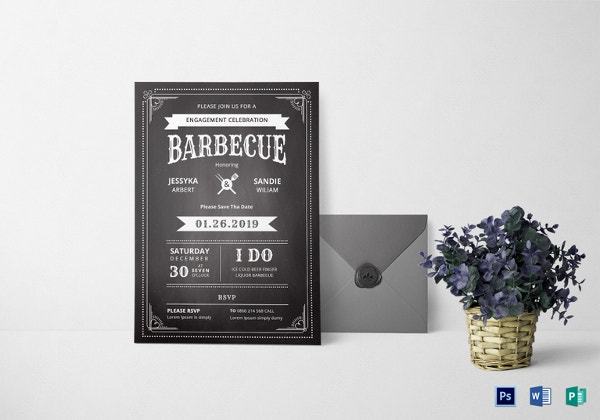 chalkboard bbq invitation template