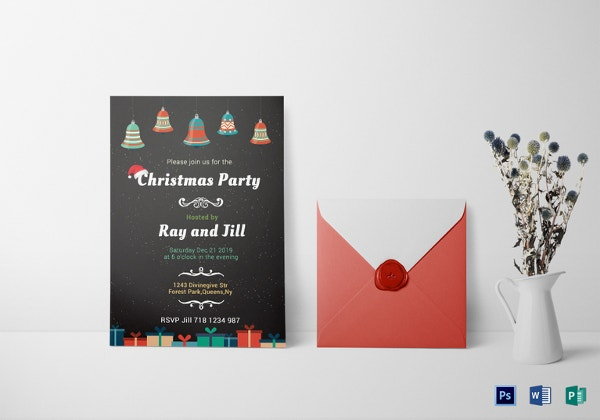 chalkboard christmas invitation card templat