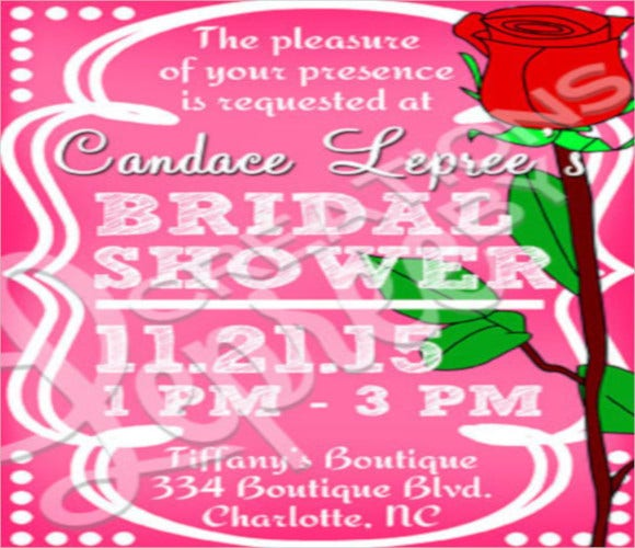 chalkboard red rose bridal shower invitation