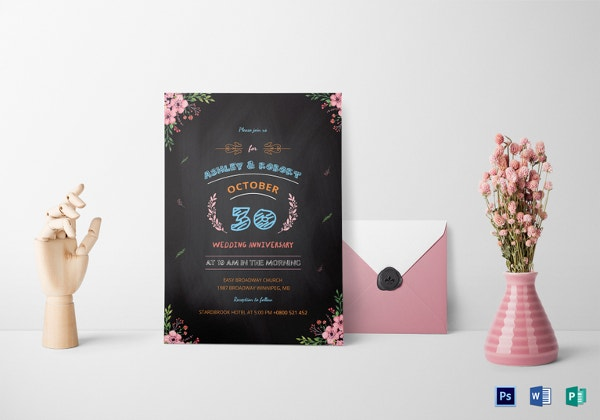 chalkboard wedding anniversary invitation templat