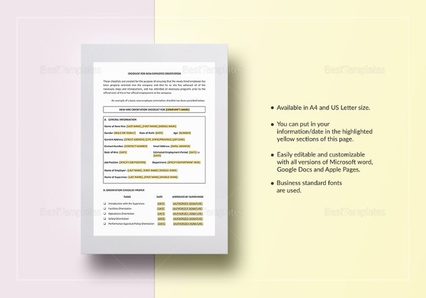 checklist new employee orientation template