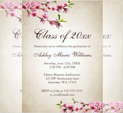cherry blossoms vintage formal invitation template